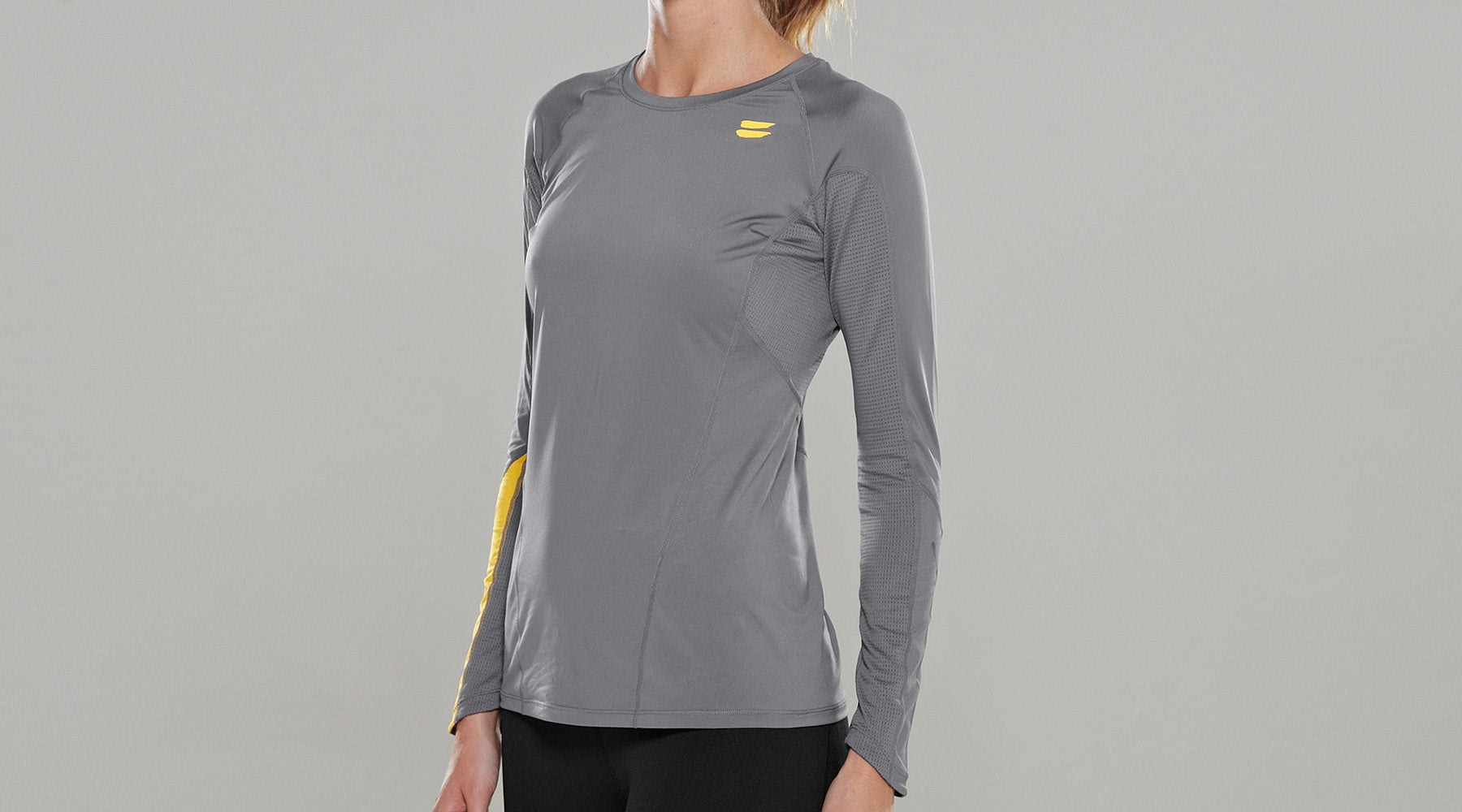 Tribesports Core Women's Long Sleeve Top Charcoal  5