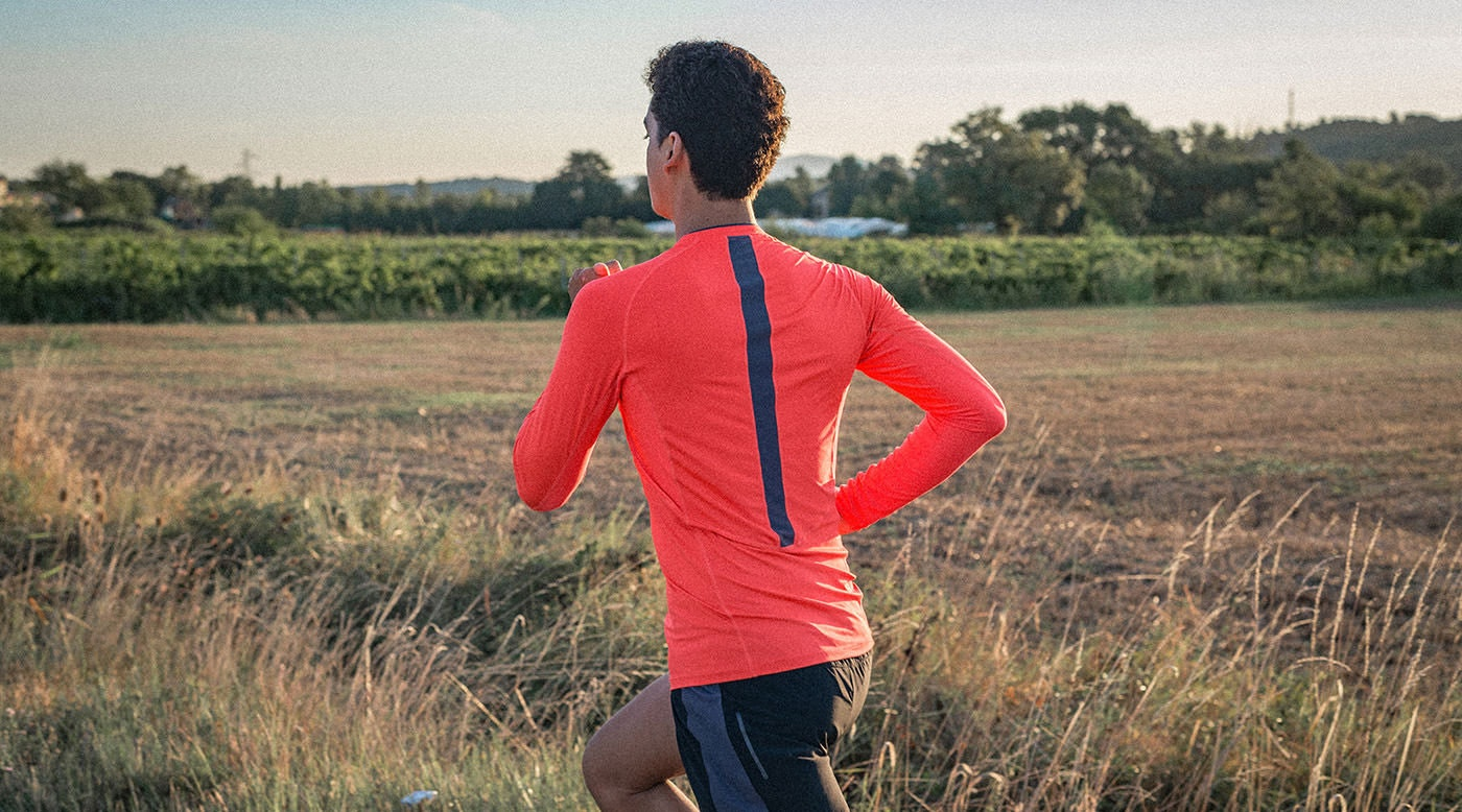 Tribesports Core Men Running Long Sleeve Top Fire Red 2