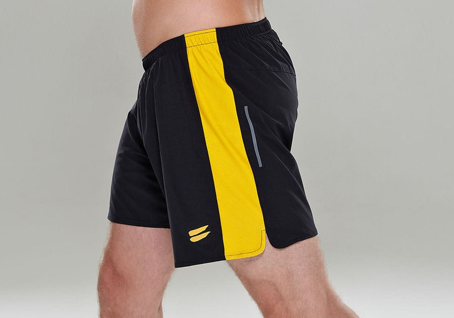 Tribesports Core Men's Running Shorts Black Yellow 4