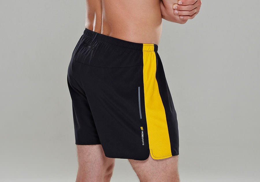 Tribesports Core Men's Running Shorts Black Yellow 8