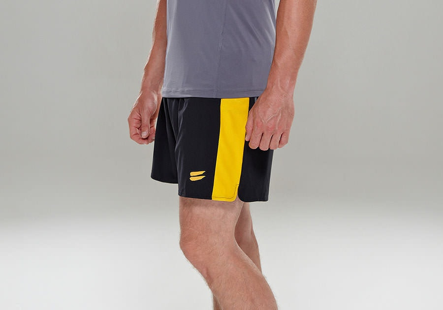 Tribesports Core Men's Running Shorts Black Yellow 11