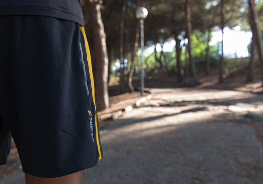 Tribesports Core Men's Running Shorts Black Yellow 5