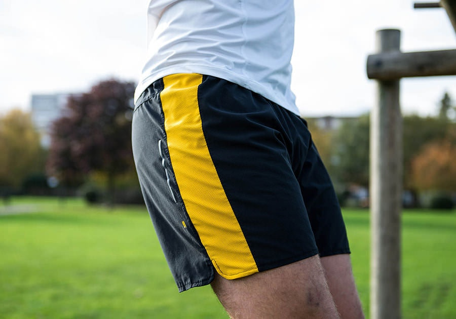Tribesports Core Men's Running Shorts Black Yellow 7
