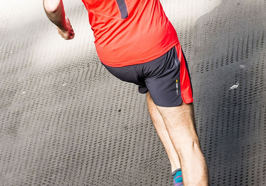 Tribesports Core Men's Running Shorts Charcoal Fire Red 2