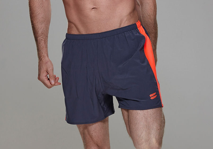 Tribesports Core Men's Running Shorts Charcoal Fire Red 11