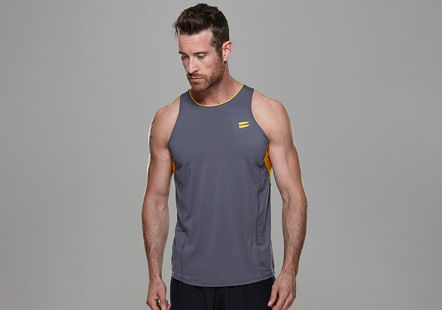 Tribesports Core Running Singlet Charcoal 4