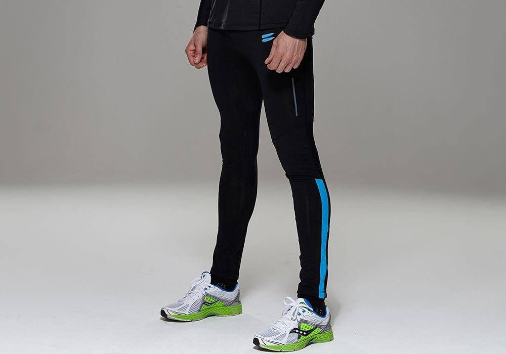 Tribesports Core Men's Running Tights Black Blue 8