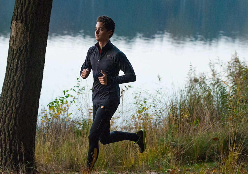 Tribesports Core Men's Running Tights Black Yellow 7