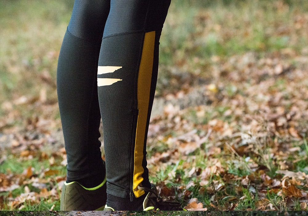 Tribesports Core Men's Running Tights Black Yellow 8