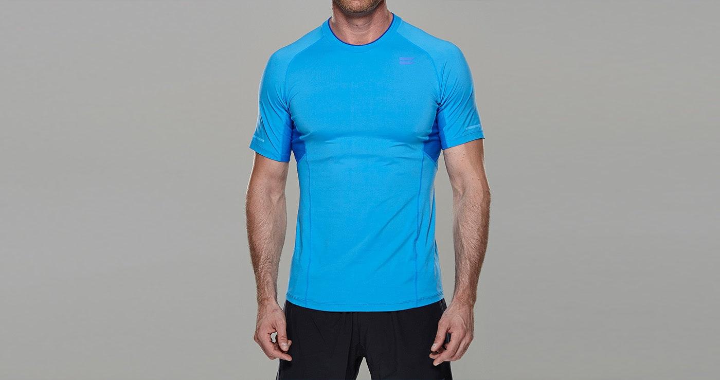 Tribesports Core Men Running Top Short Sleeve Blue 4