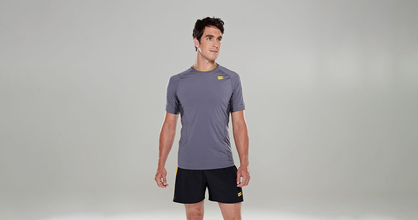Tribesports Core Men Running Short Sleeve Top Charcoal 3