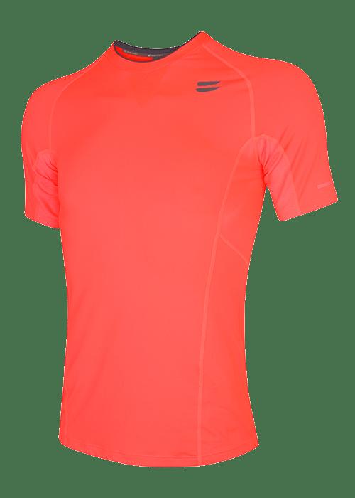 men running top short sleeve fire red
