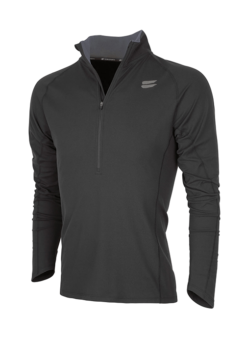 Tribesports Men's Elite Running Half-Zip Mid Layer Black