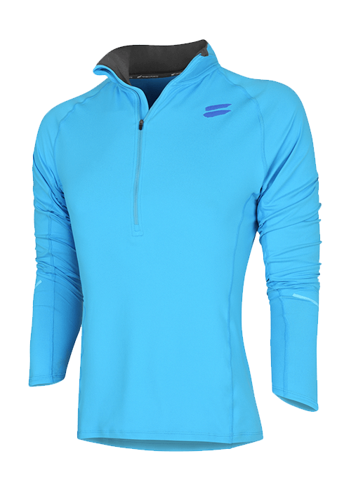 Tribesports Men's Elite Running Half-Zip Mid Layer Blue