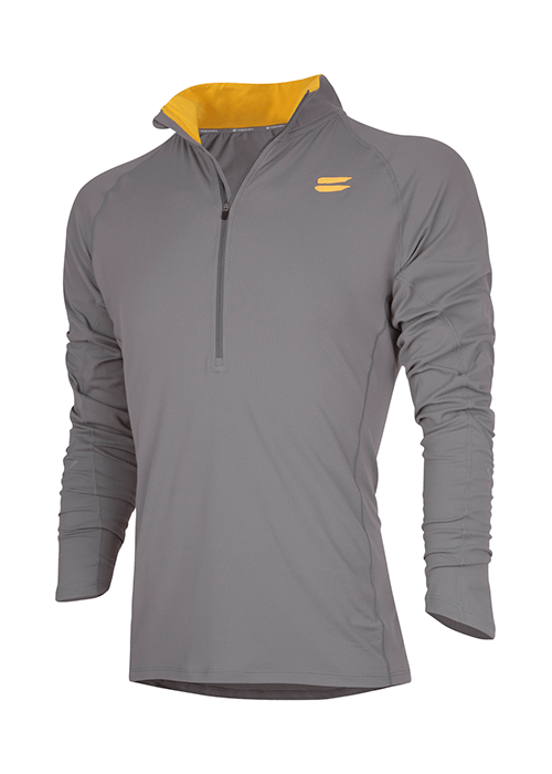 Tribesports Men's Elite Running Half-Zip Mid Layer Charcoal