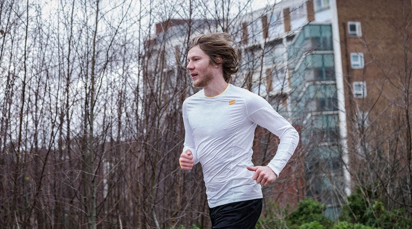 Tribesports Core Men Running Long Sleeve Top White 1