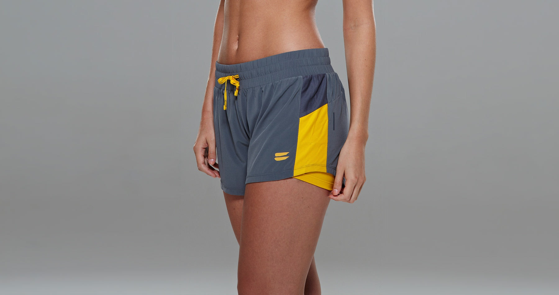 Tribesports Core Women's 2-in-1 Running Shorts Charcoal 5