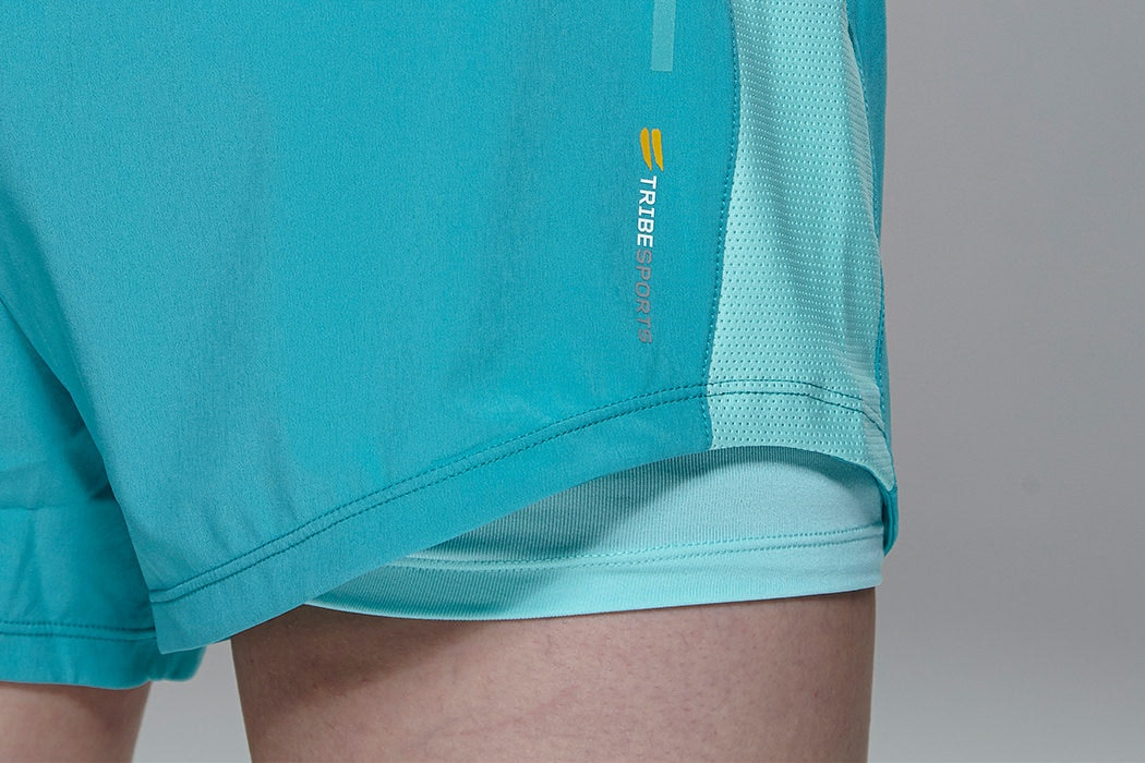 Tribesports Core Women's 2-in-1 Running Shorts Turquoise 2