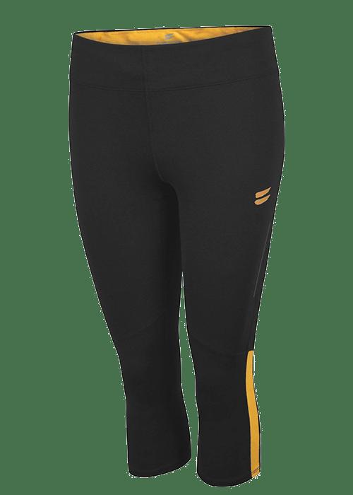 Tribesports Core Women's Running Capris Tights Black Yellow 2