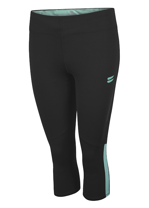 Tribesports Core Women's Running Capris Tights Black Turquoise 2
