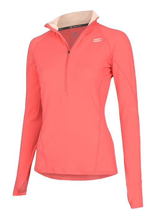 Tribesports Women's Half Zip Mid Layer Coral 2
