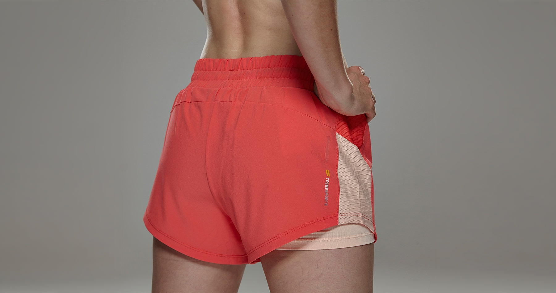 Tribesports Core Women's 2-in-1 Running Shorts Coral 4