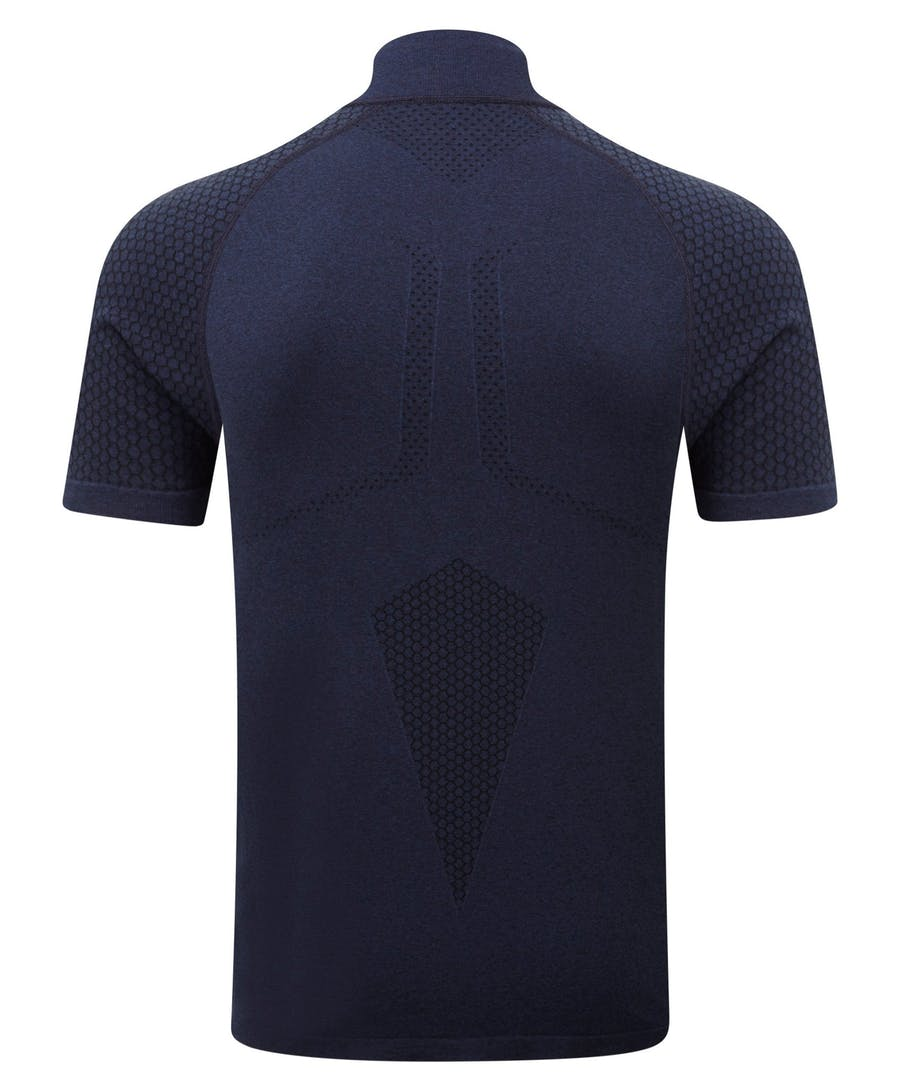 Engineered Short Sleeved Zip Tee - Rich Royal Melange