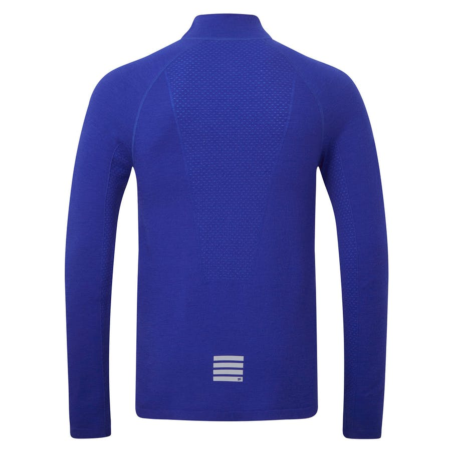 Merino Long Sleeve Zip T-shirt - Royal Blue