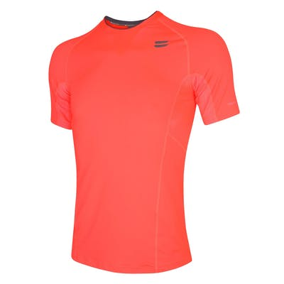 Men's Short Sleeve Running Top - Fire Red , Tribesports - 1