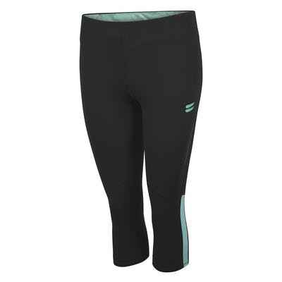 Women's Capri Running Tights - Black / Turquoise , Tribesports - 1