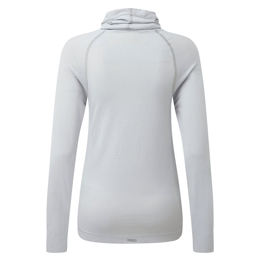 Cowl Neck Long Sleeve T-Shirt - Light Grey Melange